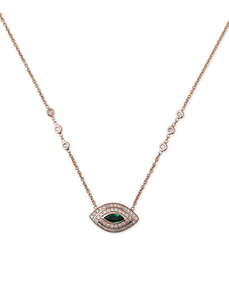 Jacquie Aiche Diamond & Emerald Eye Pendant Necklace WUjWpowu