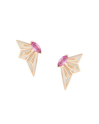 Fly by Night 18k Pink Sapphire Stud Earrings