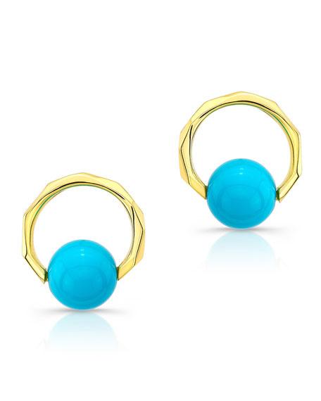 Ron Hami 14k Turquoise Cluster Earrings PlaHm