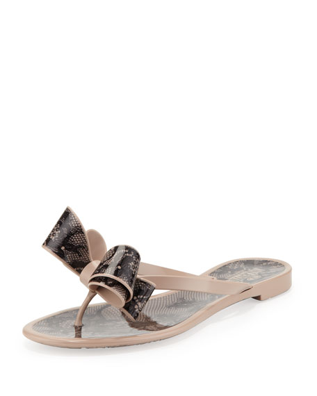 4ac5c78c7678a Valentino Lace-Print Bow Jelly Thong Sandal