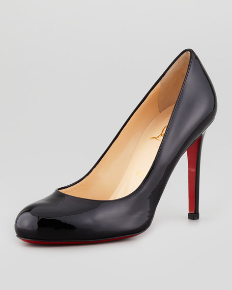 timeless design 665a2 8528b Simple Patent Red Sole Pump Black