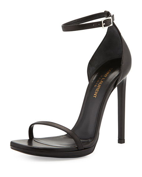 faa7d2dd127 Saint Laurent Jane Leather Ankle-Wrap Sandal