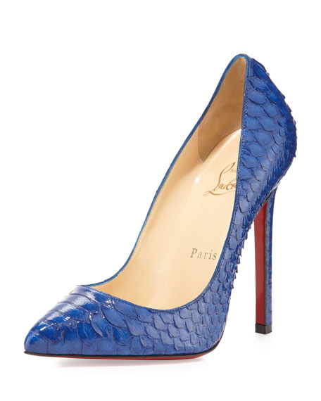 87a32a5c485 Christian Louboutin Pigalle Python Point-Toe Red Sole Pump