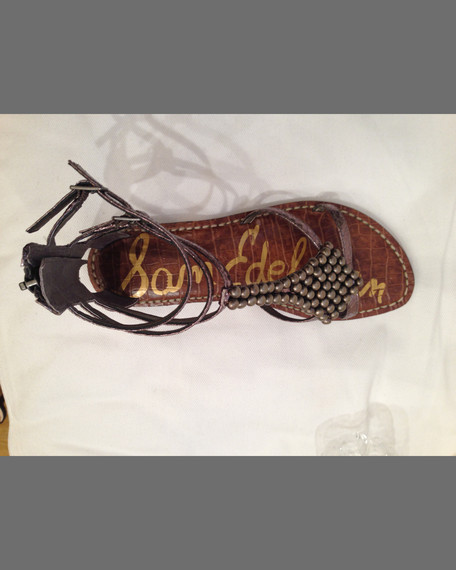 2b497e75765 Sam Edelman Ginger Beaded Metallic Gladiator Sandal