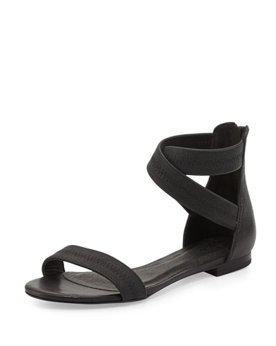 Norah Elastic Leather Sandal, Black