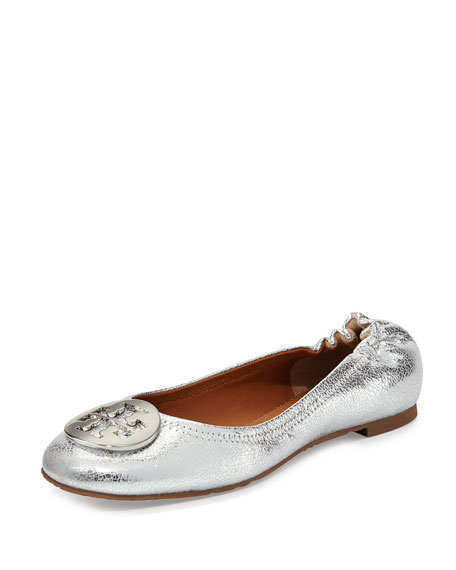 0cf958df3b7 Tory Burch Reva Crackled Metallic Ballerina Flat