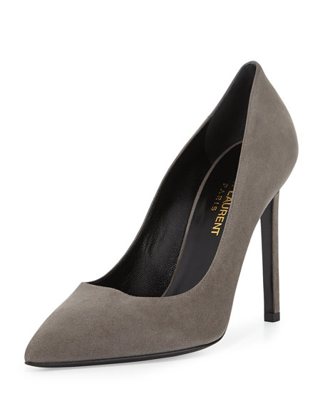 3bea83294ae Saint Laurent Suede Pointed-Toe Pump, Gray