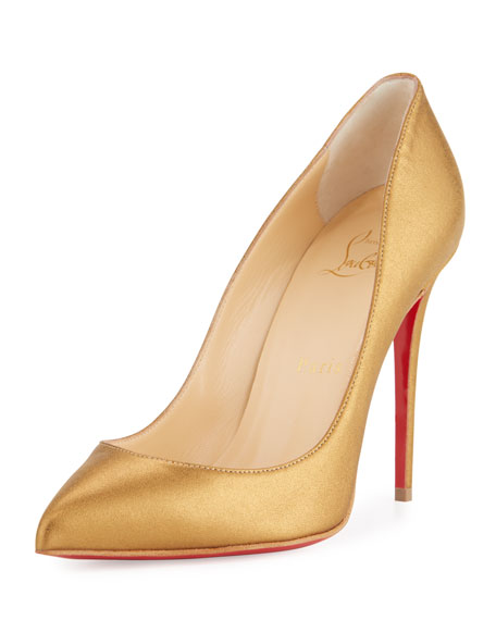 size 40 25f56 b8b3c Pigalle Follies Leather 100mm Red Sole Pump Gold