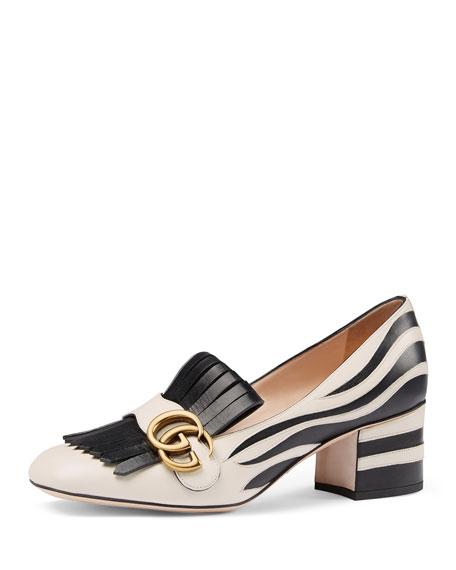 09e2c848c Gucci Marmont Zebra-Print Loafer Pump, White/Black