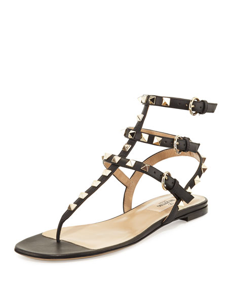 Leather Rockstud Leather Rockstud Gladiator Black Sandal yvg7YIbf6