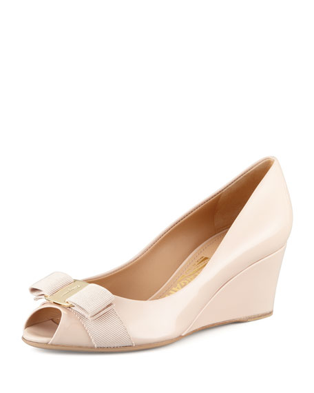 f2cd2297faaa Salvatore Ferragamo Vara Mid-Wedge Pump