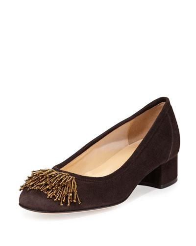 Flynn Beaded Fringe Pump, Moro Brown