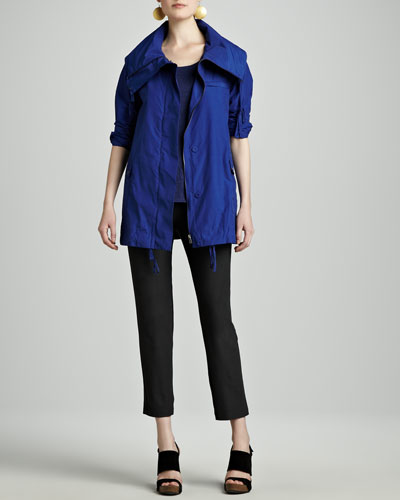 Weather-Resistant Jacket, Striped Linen A-Line Top & Washable-Crepe Ankle Pants