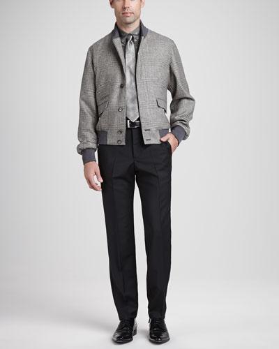 Glen Plaid Bomber Jacket, Skull & Dot Short-Sleeve Shirt, Wool/Mohair Dress ...