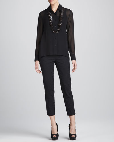 Sheer High-Low Georgette Shirt, Silk Jersey Camisole & Jacquard Cropped Trousers