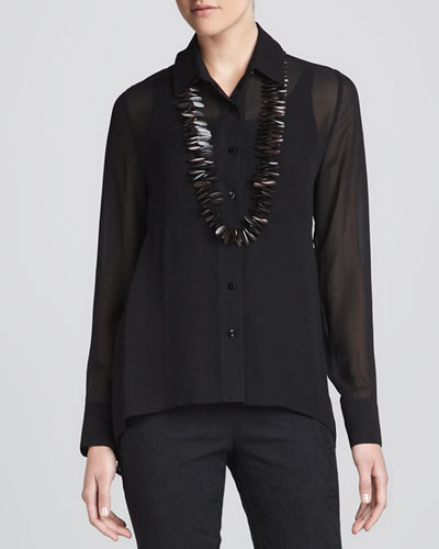 Sheer High-Low Georgette Shirt & Silk Jersey Camisole, Women