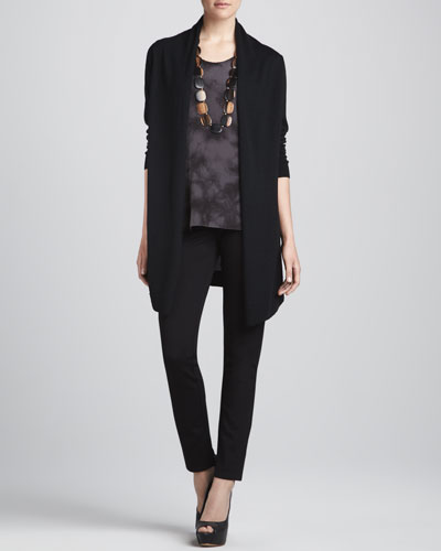 Long Silk-Back Cardigan, Silk Shibori Long Tank & Straight-Leg Ponte Pants