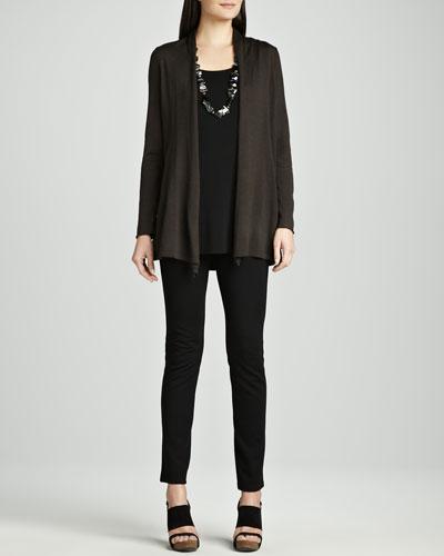 Long Merino Cardigan, Silk Jersey Tunic & Stretch Ponte Skinny Jeans, ...