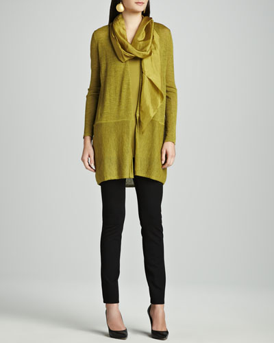 Washable Wool Cardigan, Silk Jersey Tunic Tank, Stretch Ponte Skinny Jeans & Whisper Silk Scarf