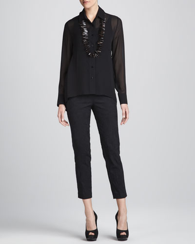 Sheer High-Low Georgette Shirt, Silk Jersey Camisole & Jacquard Cropped Trousers, Petite