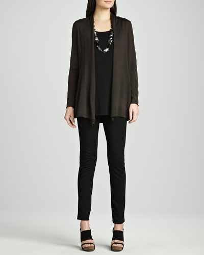 Long Merino Cardigan, Silk Jersey Tunic & Stretch Ponte Skinny Jeans