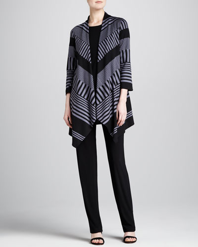 Walk-the-Line Knit Jacket, Stretch-Knit Long Tank & Straight-Leg Stretch Pants