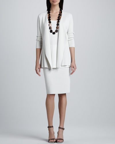Silk-Cotton Interlock Sweater Jacket, Jersey Long Tunic & Straight Skirt