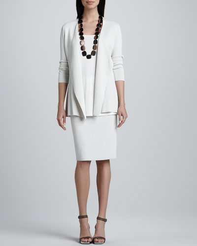 Silk-Cotton Interlock Sweater Jacket, Jersey Long Tunic & Straight Skirt, Petite
