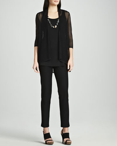 Sheer Mesh Cardigan, Silk Jersey Tunic Tank & Slim Stretch Crepe Ankle Pants