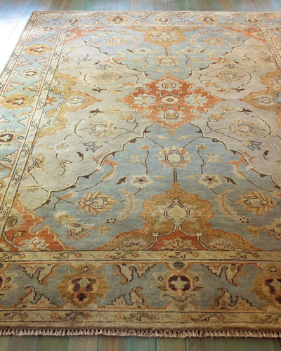 Damask on Blue Oushak Rug