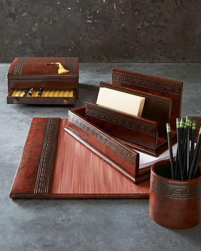 Greek Key Desk Accessories