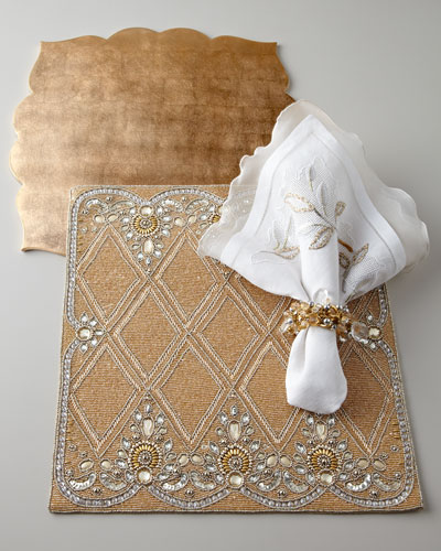 Golden Placemats & White Napkins