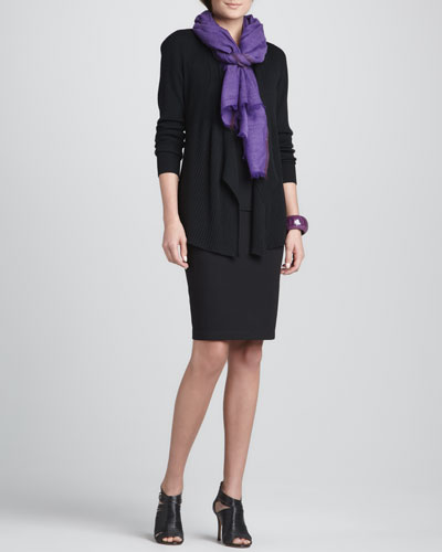 Ribbed Mixed-Texture Cardigan, Silk Jersey Long Camisole, Herringbone Wool/Silk Scarf & Ponte Knee-Length Pencil Skirt