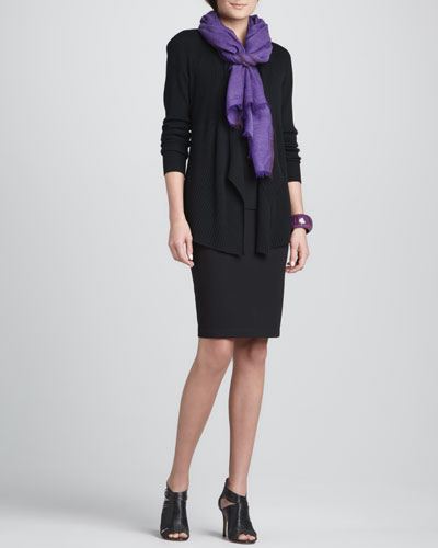 Ribbed Mixed-Texture Cardigan, Silk Jersey Long Camisole, Herringbone Wool/Silk Scarf & Ponte Knee-Length Pencil Skirt, Petite