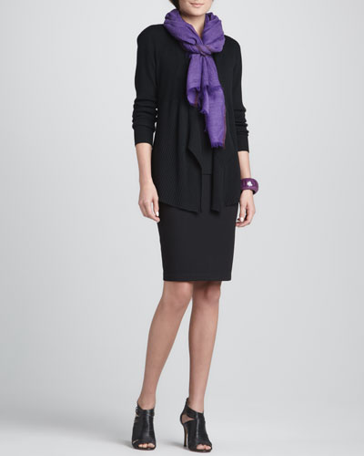 Ribbed Mixed-Texture Cardigan, Silk Jersey Long Camisole, Herringbone Wool/Silk Scarf & Ponte Knee-Length Pencil Skirt, Women