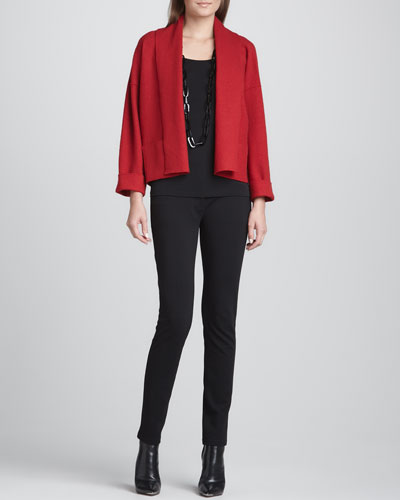 Boiled Wool Kimono Jacket, Silk Jersey Long Camisole & Stretch Ponte Skinny Jeans