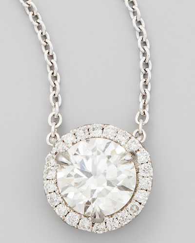 18k White Gold Diamond Solitaire Pendant Necklace with Pave Halo