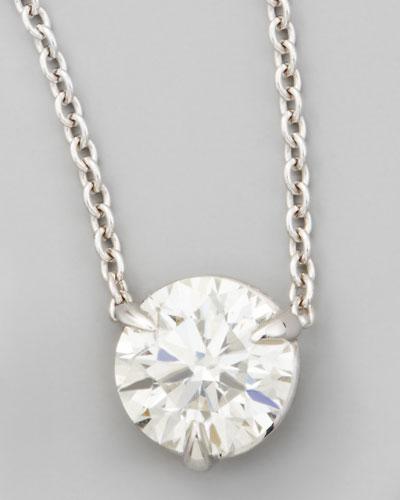 18k White Gold Diamond Solitaire Pendant Necklace