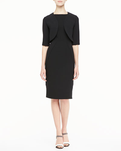 Gabardine Shrug & Sleeveless Boat-Neck Sheath Dress
