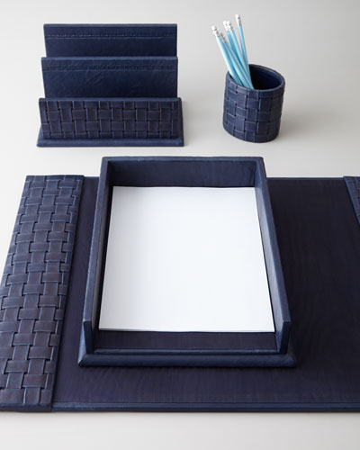 Blue Woven Leather Desk Accessories