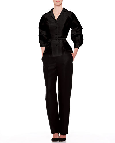 Silk Faille Balloon-Sleeve Blouse & Skinny Trouser Pants