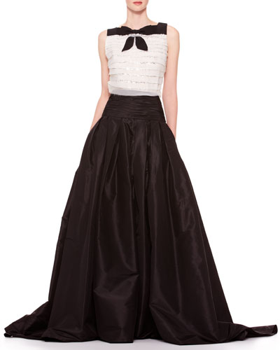 Sleeveless Tiered Bow Top & Long A-Line Silk Skirt