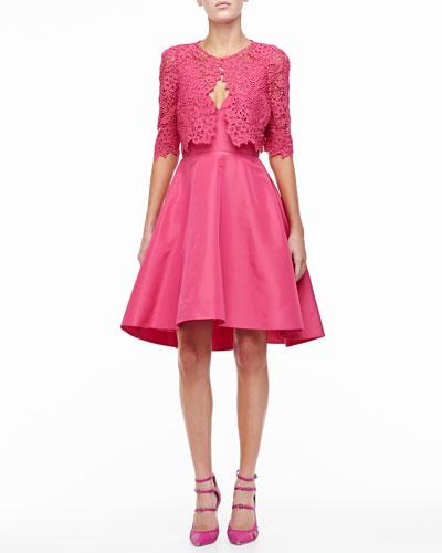 3/4-Sleeve Lace Bolero & Silk Faille A-Line Party Dress