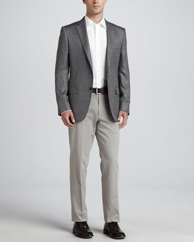 Tic-Weave Sport Coat, Twill Dress Shirt & Cotton/Cashmere Dress Pants