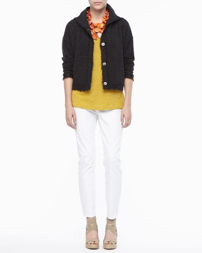 Boiled Wool Short Jacket, Linen Jersey Scoop-Neck Top & Skinny Ankle Jeans, ...