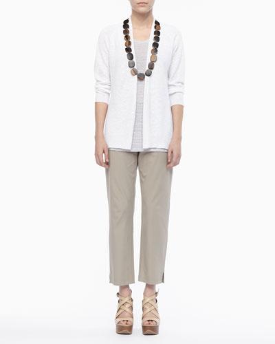 Linen Knit Cardigan, Jersey Striped Tank & Twill Slim Ankle Pants, Petite ...