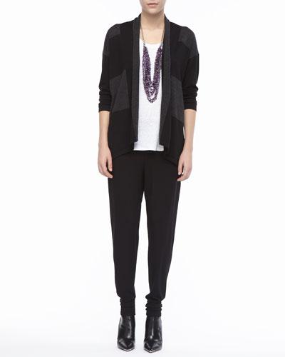 Wide-Striped Wool Cardigan, Linen Jersey Scoop-Neck Top & Jersey ...