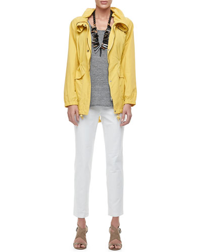Weather-Resistant Coat, Linen Jersey Striped Tank & Washable Crepe Slim Ankle Pants, Women
