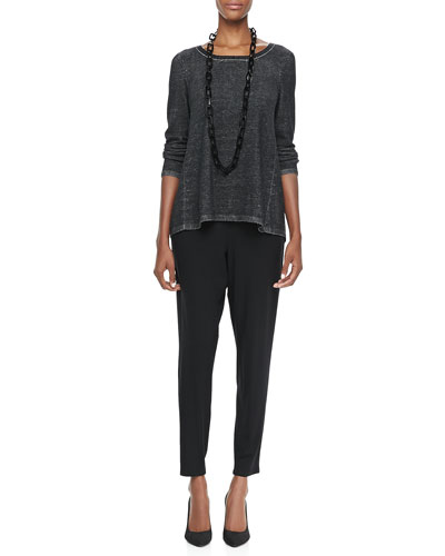 Plaited High-Low Tunic, Slim Tank & Slouchy Tapered Pants, Petite