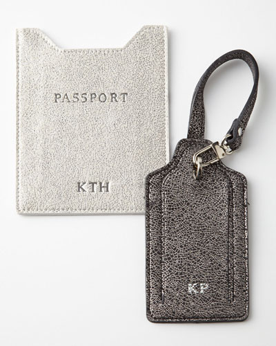 Glitter-Leather Luggage Tag & Passport Sleeve